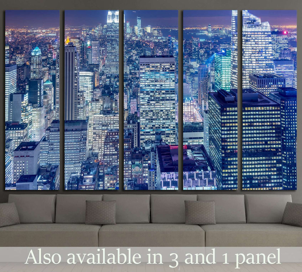 Night view of New York Manhattan during sunset №1566 Ready to Hang Canvas Print