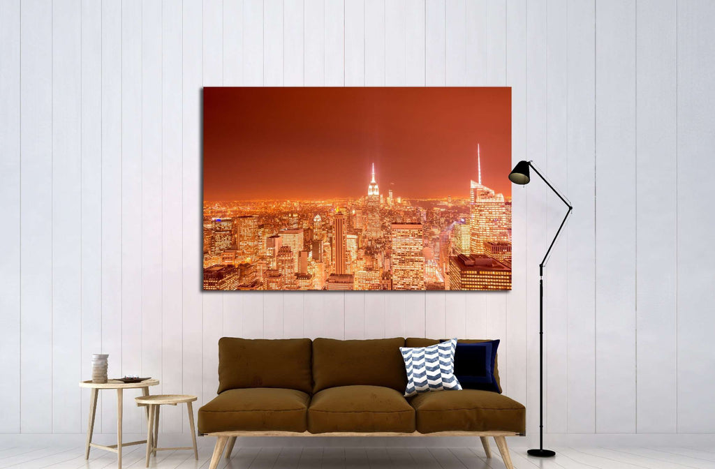 Night view of New York Manhattan during sunset №2403 Ready to Hang Canvas Print