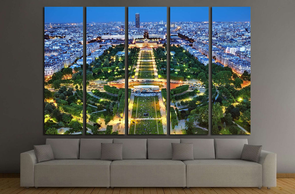 Night view of Paris from the Eiffel Tower №2243 Ready to Hang Canvas Print