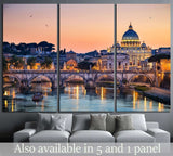 Night view of the Basilica St Peter, Rome, Italy №1173 Ready to Hang Canvas Print