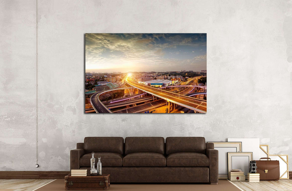 night view of the bridge and city in china №2280 Ready to Hang Canvas Print