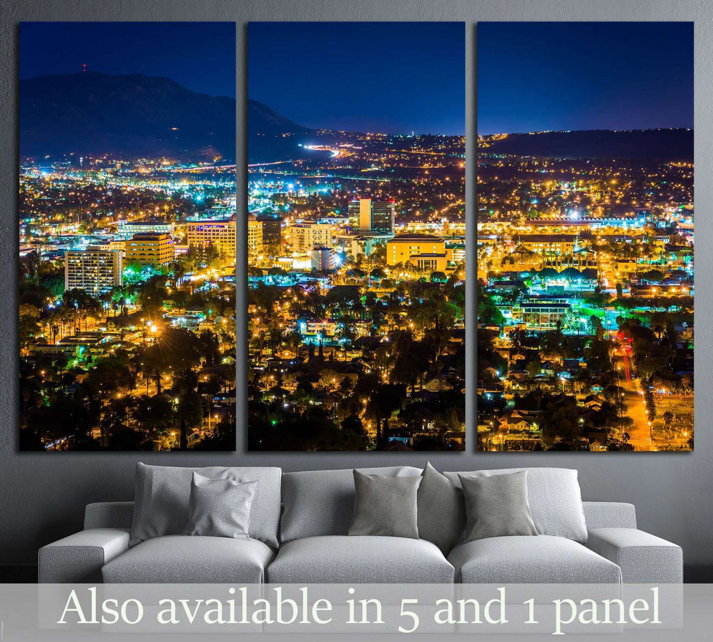 Night view of the city of Riverside, Mount Rubidoux Park, California №1698 Ready to Hang Canvas Print