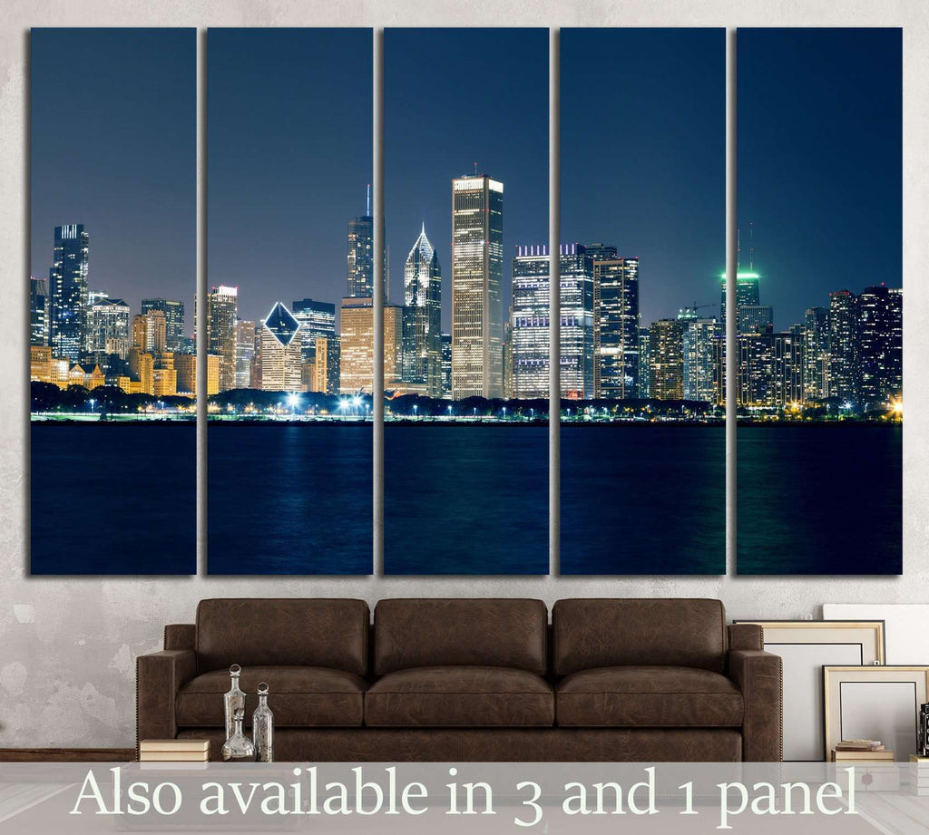 Night View On Chicago Skyline №2149 Ready to Hang Canvas Print