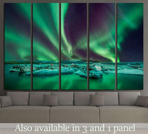 northern lights flying over the Glacier Lagoon in iceland №1909 Ready to Hang Canvas Print
