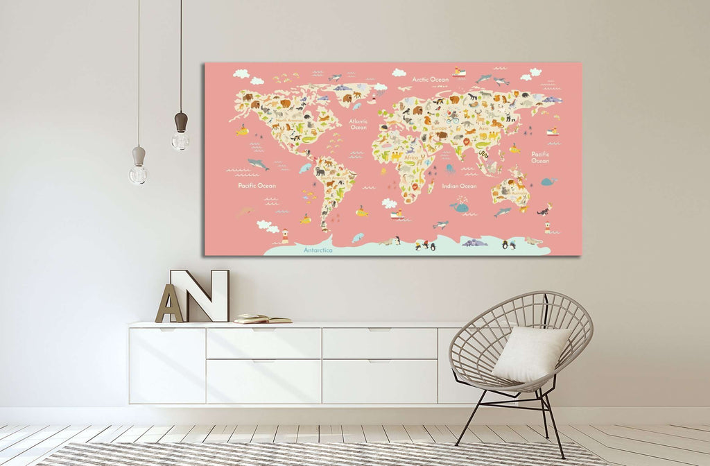 Nursery world map 30 ready to hang canvas print zellart nursery world map 30 ready to hang canvas print gumiabroncs Images
