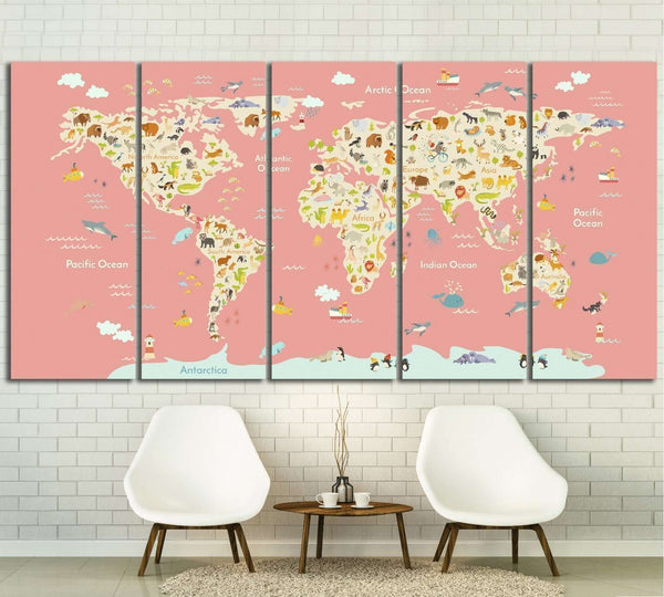 Nursery world map №30 Ready to Hang Canvas Print