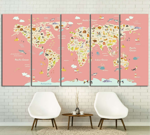 Nursery world map ?30 Ready to Hang Canvas Print  sc 1 st  Zellart & Kids World Map Wall Art at Zellart Canvas Arts