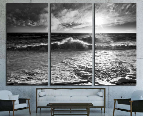 Ocean waves with a sunburst and lens flare on a windy day in black and white. №2925 Ready to Hang Canvas Print