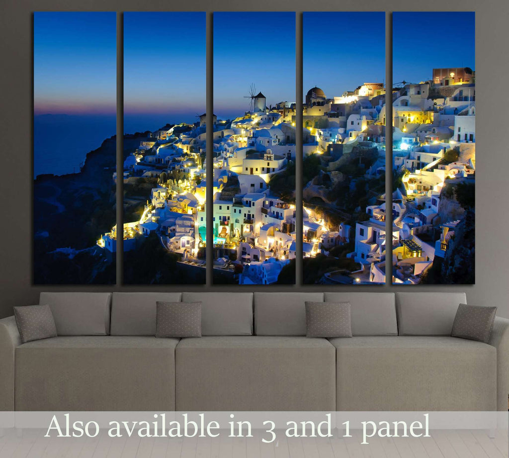 Oia village in Santorini at in the evening, Greece №2242 Ready to Hang Canvas Print