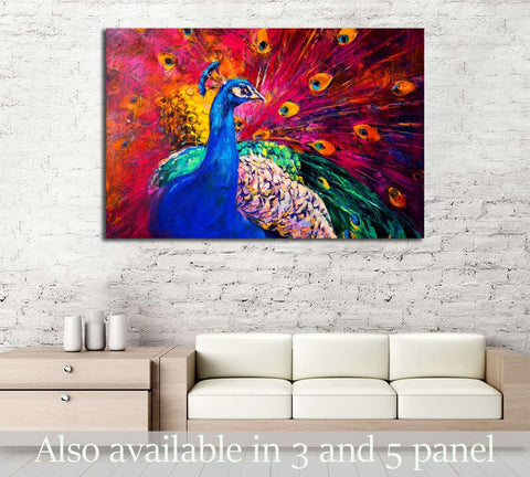 Oil painting. Beautiful multicolored peacock №2802 Ready to Hang Canvas Print