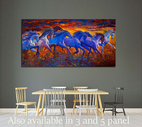 Oil painting. Running horses №2800 Ready to Hang Canvas Print