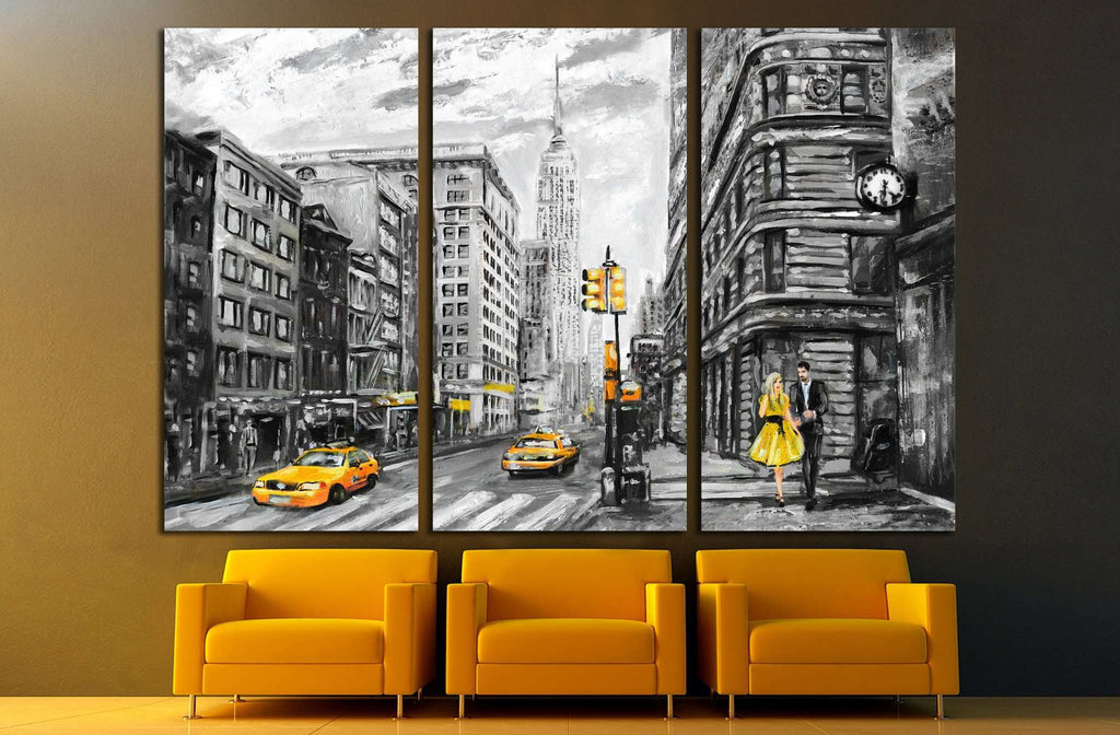oil painting street view of New York №1563 Ready to Hang Canvas Print