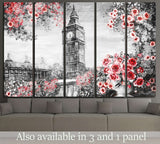 Oil Painting, summer in London, flower rose and leaf №2093 Ready to Hang Canvas Print