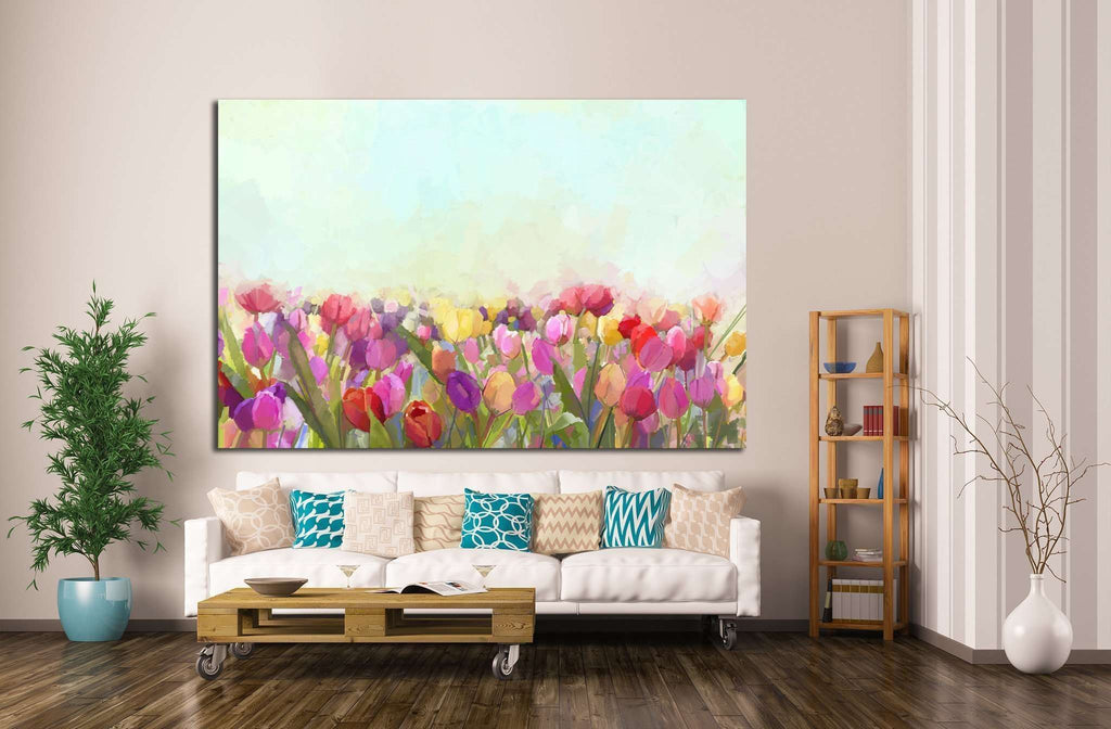 Oil painting yellow, pink and red Tulips flowers №1346 Ready to Hang Canvas Print