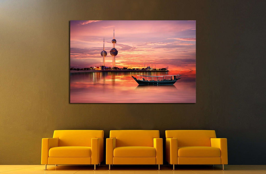 old Arabian boat docked in front of Kuwait Landmark №2200 Ready to Hang Canvas Print