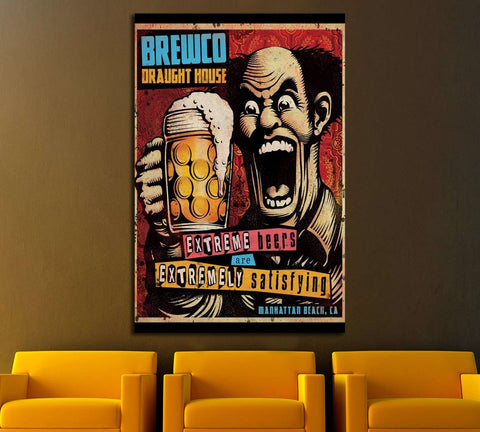 old beer quadro №3470 Ready to Hang Canvas Print