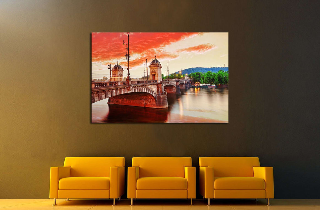 Old Bridge Legii from the waterfront of the Vltava River.Prague.Czech Republic №3032 Ready to Hang Canvas Print