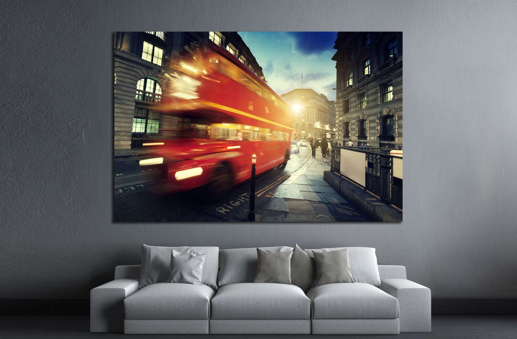 old bus on street of London №792 Ready to Hang Canvas Print