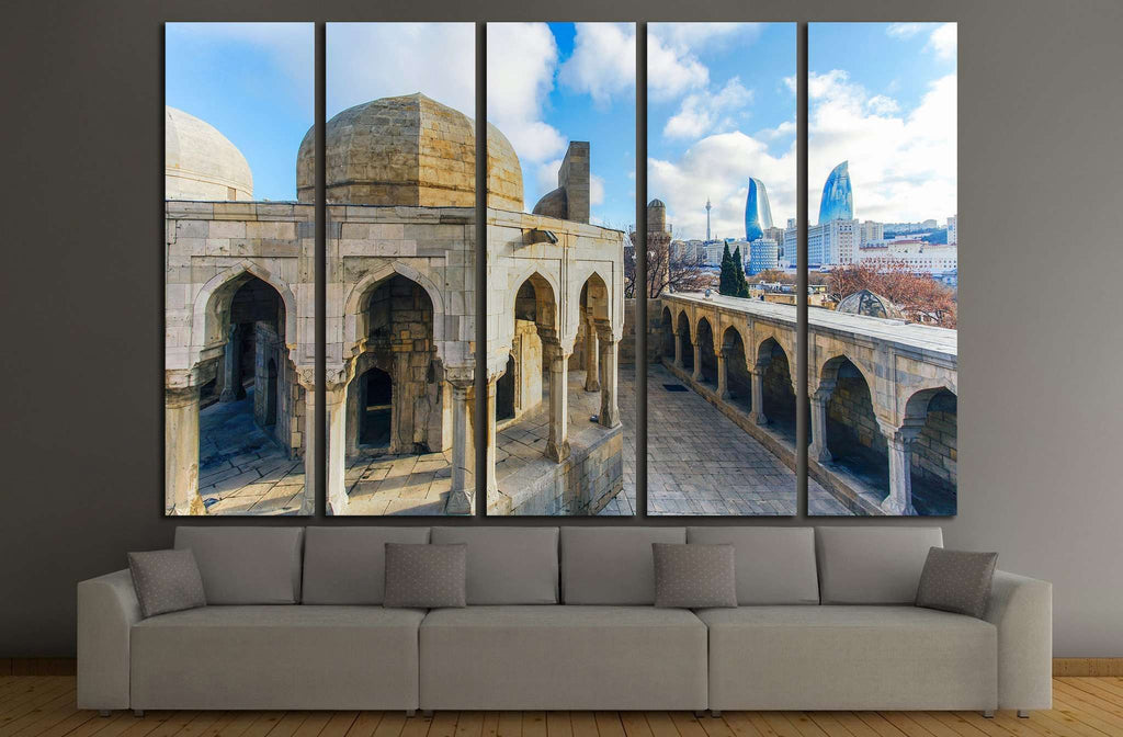 Old City in Baku, Flame Towers №1557 Ready to Hang Canvas Print