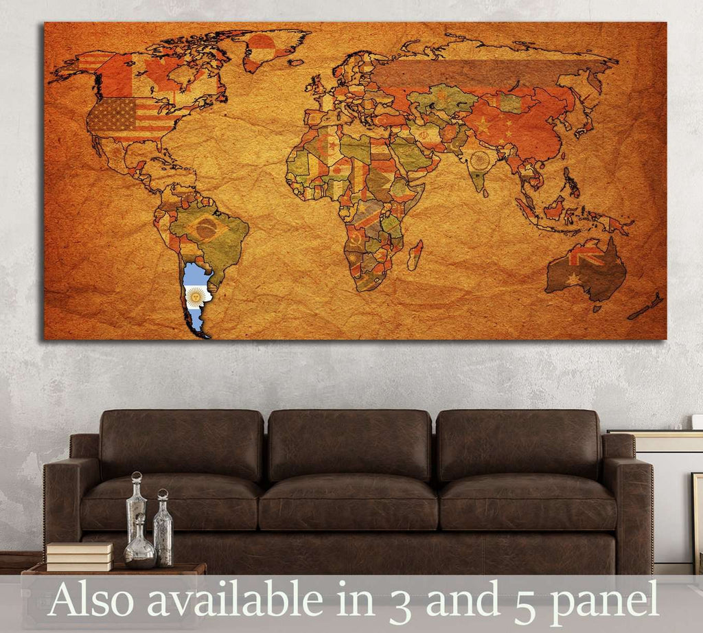 old political map of world with flag of argentina №1321 Ready to Hang Canvas Print