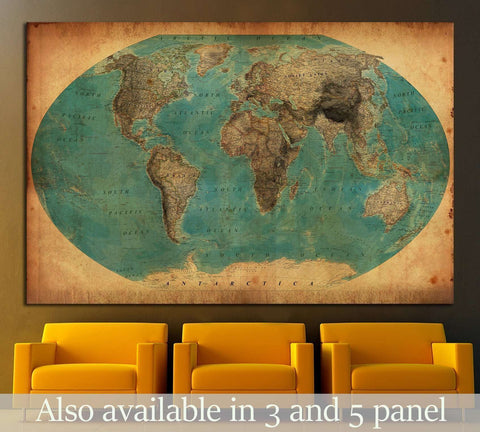 Old World Map №1458 Ready to Hang Canvas Print
