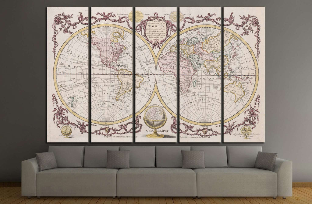 Old World Map №1470 Ready to Hang Canvas Print
