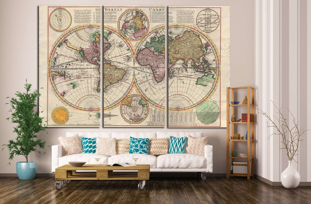 Old World Map №1472 Ready to Hang Canvas Print