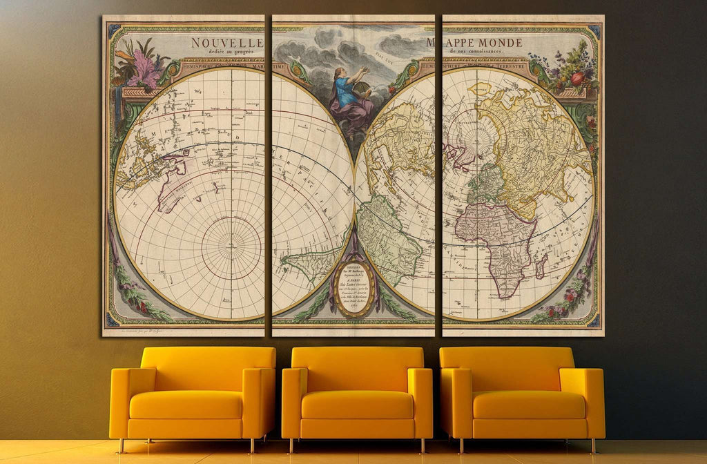 Old World Map №1474 Ready to Hang Canvas Print