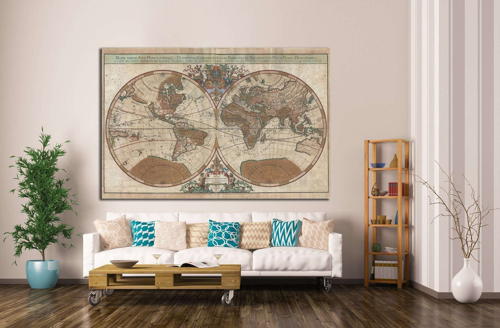 Old World Map №1475 Ready to Hang Canvas Print
