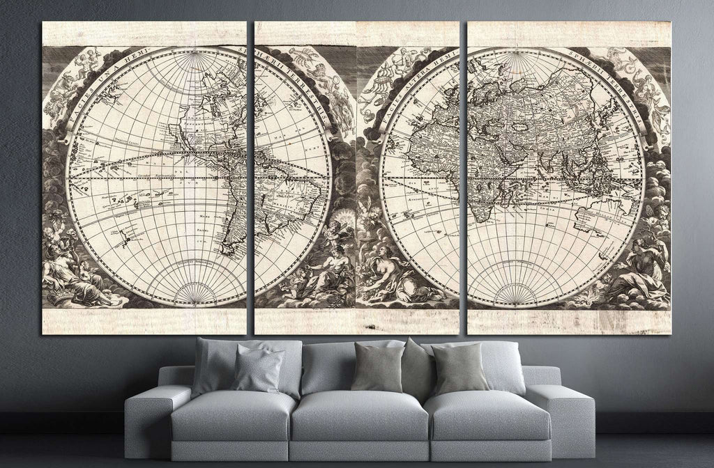 Old World Map №1476 Ready to Hang Canvas Print