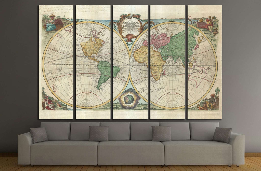 Old World Map №1477 Ready to Hang Canvas Print