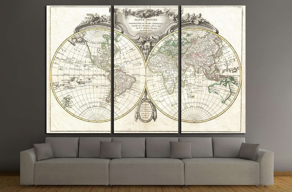 Old World Map №1478 Ready to Hang Canvas Print