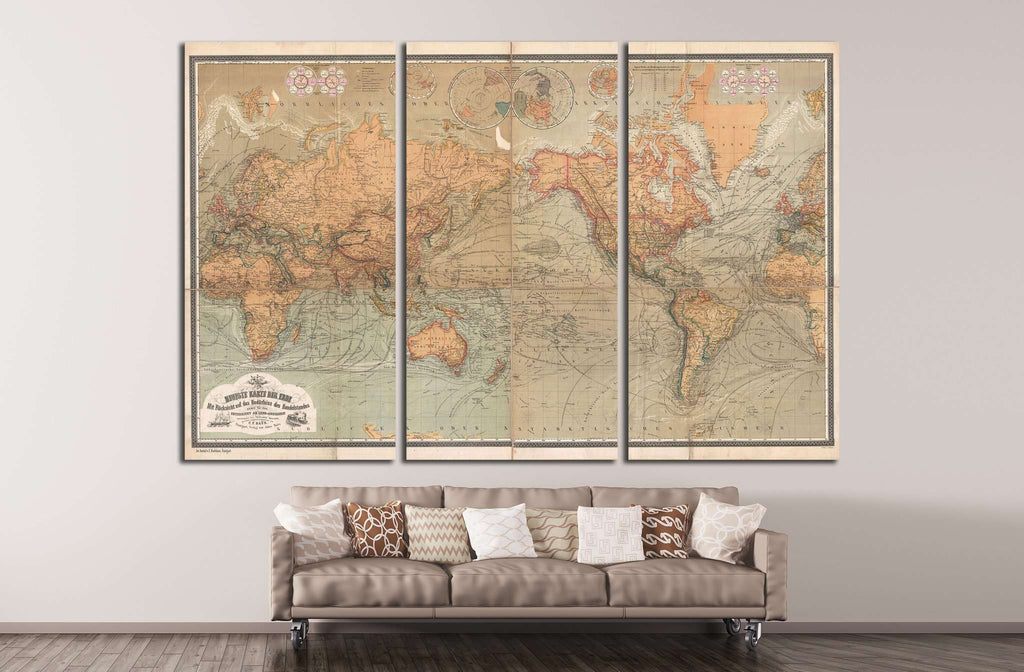 Old World Map №1481 Ready to Hang Canvas Print