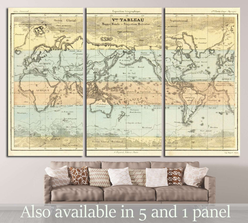 Old World Map №1483 Ready to Hang Canvas Print