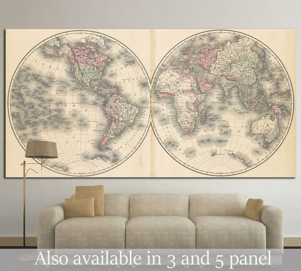 Old World Map №1486 Ready to Hang Canvas Print
