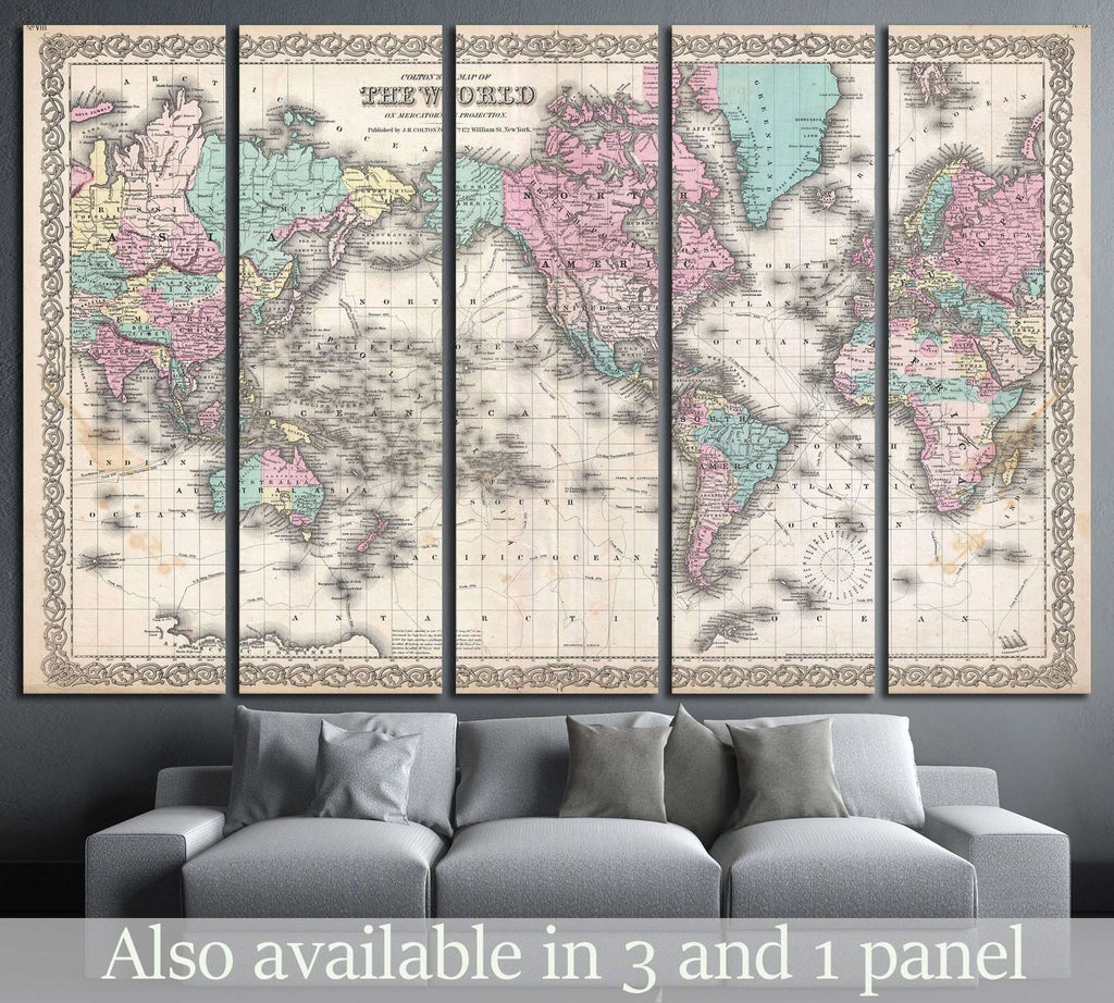 Old World Map №1490 Ready to Hang Canvas Print