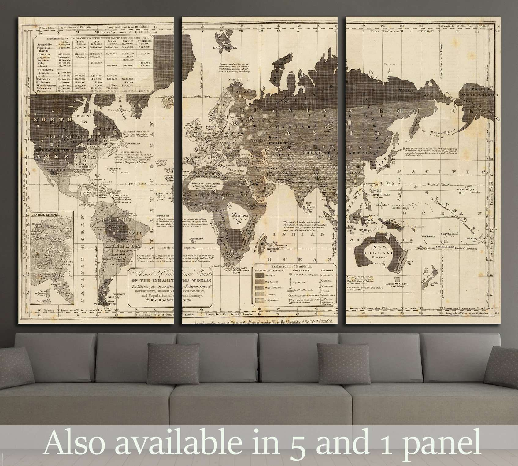 Vintage world maps at zellart canvas arts gumiabroncs Image collections
