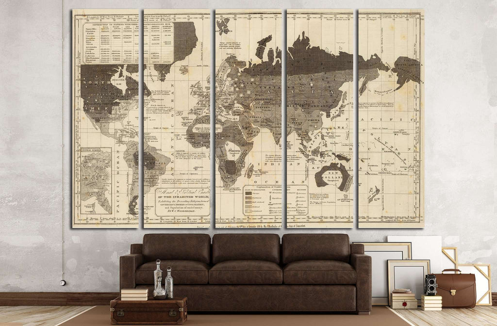 Old World Map №1491 Ready to Hang Canvas Print