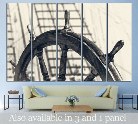 Old Yacht Wheel №215 Ready to Hang Canvas Print