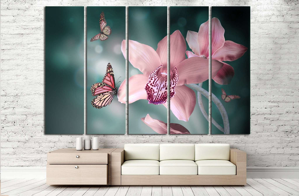 Orchids with a butterfly №729 Ready to Hang Canvas Print