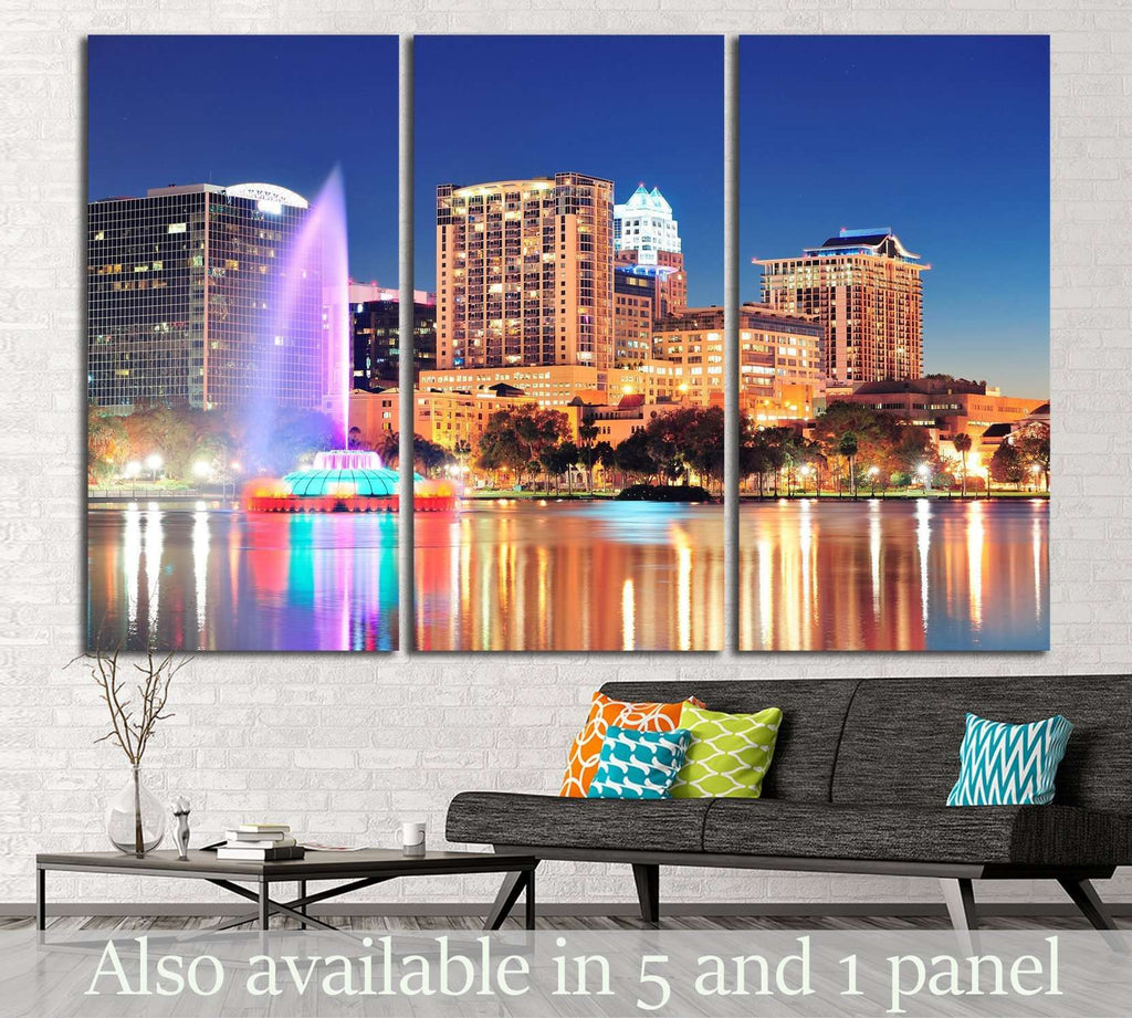Orlando downtown skyline, Lake Eola №1202 Ready to Hang Canvas Print