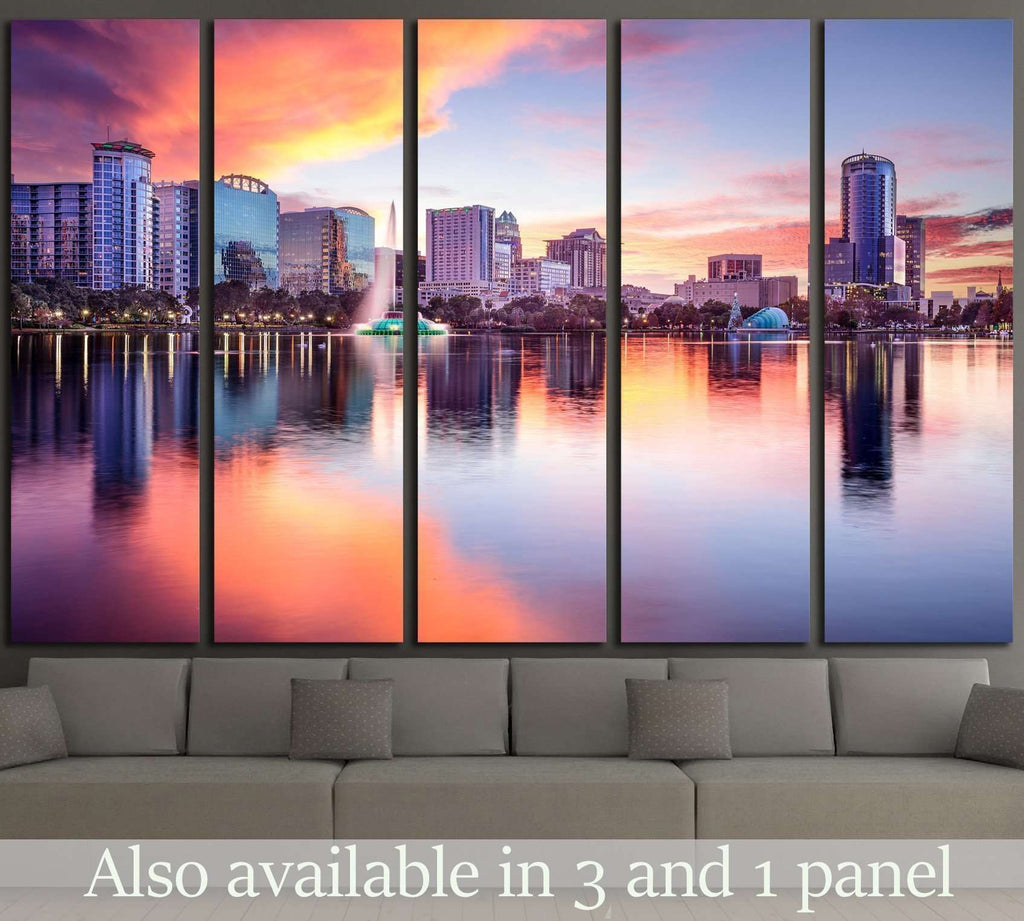 Orlando, Florida, USA downtown city skyline from Eola Park №1691 Ready to Hang Canvas Print