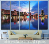 Orlando skyline over Lake Eola at dusk with urban skyscrapers №1671 Ready to Hang Canvas Print