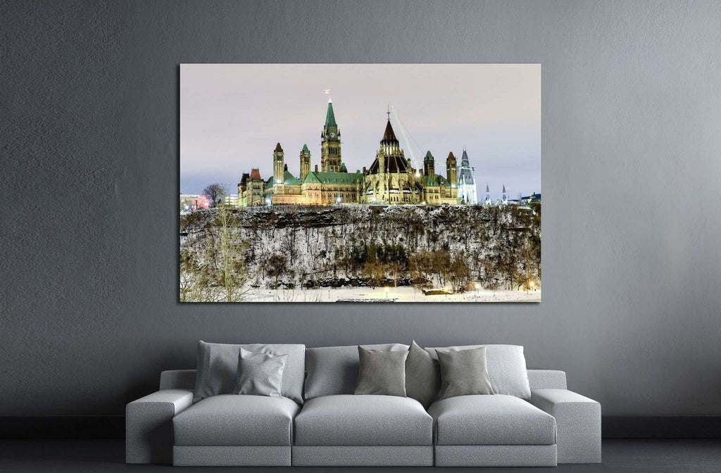 Ottawa, Canada - December 24, 2016 Parliament Hill and the Canadian House of Parliament in Ottawa, Canada during wintertime at night №2018 Ready to Hang Canvas Print