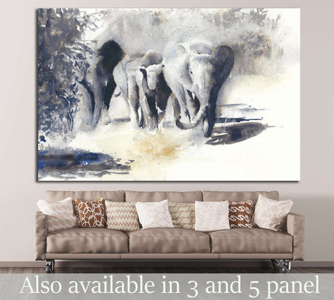 Painted Elephants №195 Ready To Hang Canvas Print