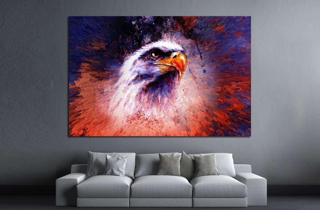 painting of eagle on an abstract background №1418 Ready to Hang Canvas Print