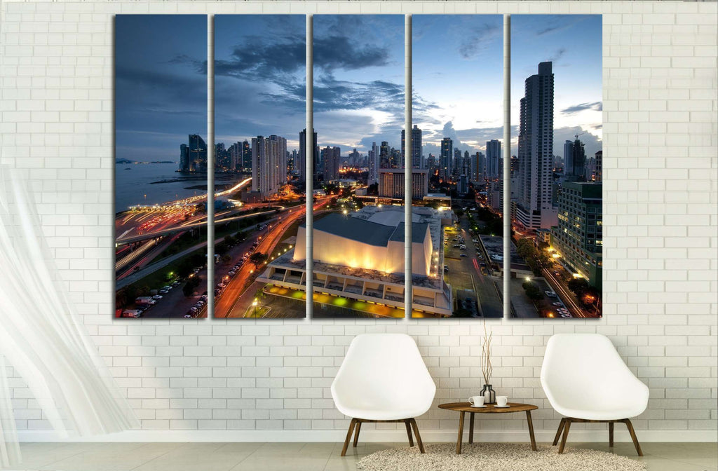 Panama City, city center skyline and Bay of Panama, Panama, Central America №2146 Ready to Hang Canvas Print