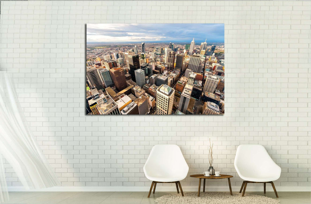 Panorama of Melbourne's city cente, Australia №2291 Ready to Hang Canvas Print