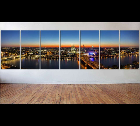 panoramic view of cologne city at sunset, germany №50 Ready to Hang Canvas Print