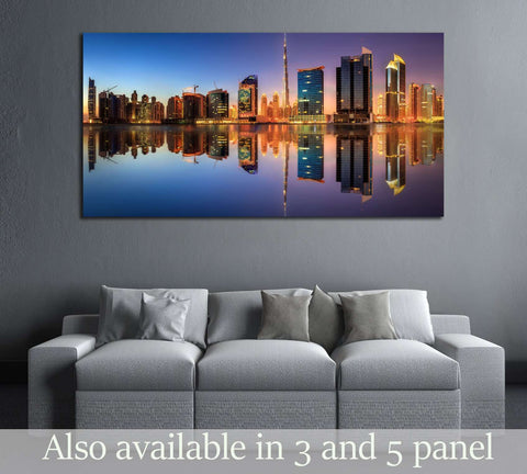 Panoramic view of Dubai Business bay, UAE №2973 Ready to Hang Canvas Print